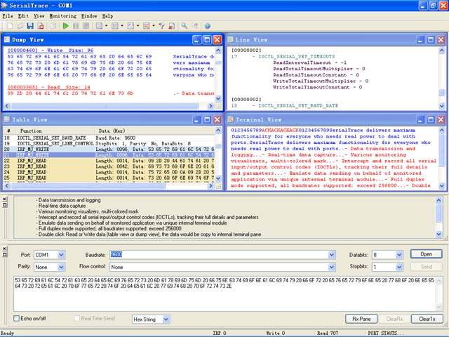 SUDT SerialTrace is a professional application for RS232/422/485 COM ports monit wonderful Screen Shot